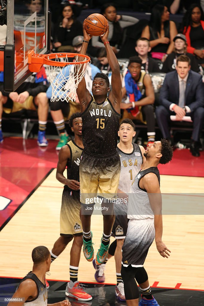 Clint Capela of the World Team goes for the dunk against the USA Team during the BBVA Compass Rising Stars Challenge as part of the 2016 NBA All Star...