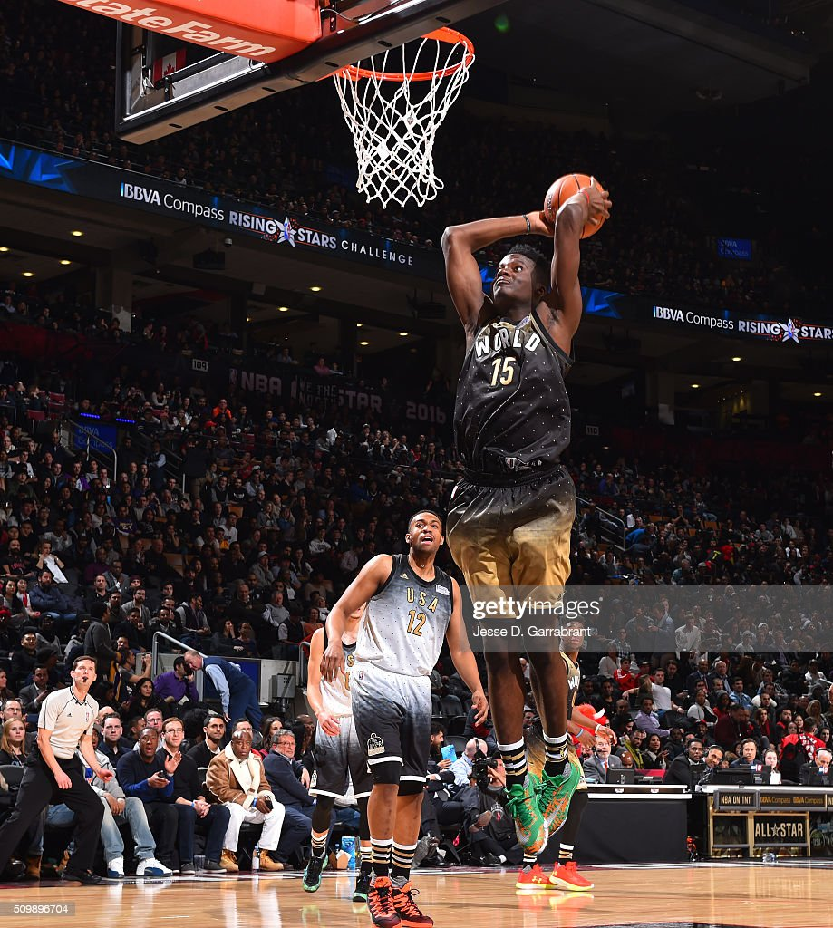 Clint Capela of the World Team goes up for the dunk during the BBVA Compass Rising Stars Challenge as part of the 2016 NBA All Star Weekend on...