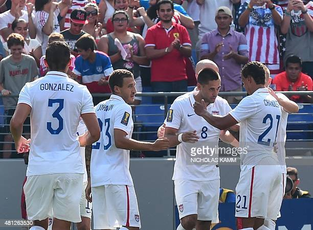 Clint Dempsey celebrates scoring against Cuba during a CONCACAF Gold Cup quarterfinal football match in Baltimore on July 18 2015 AFP PHOTO/NICHOLAS...