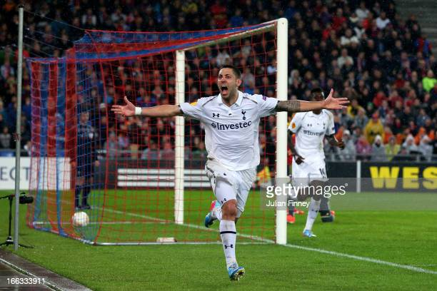 Clint Dempsey of Spurs cellebrates after scoring his team's second goal during UEFA Europa League quarter final second leg match between FC Basel...