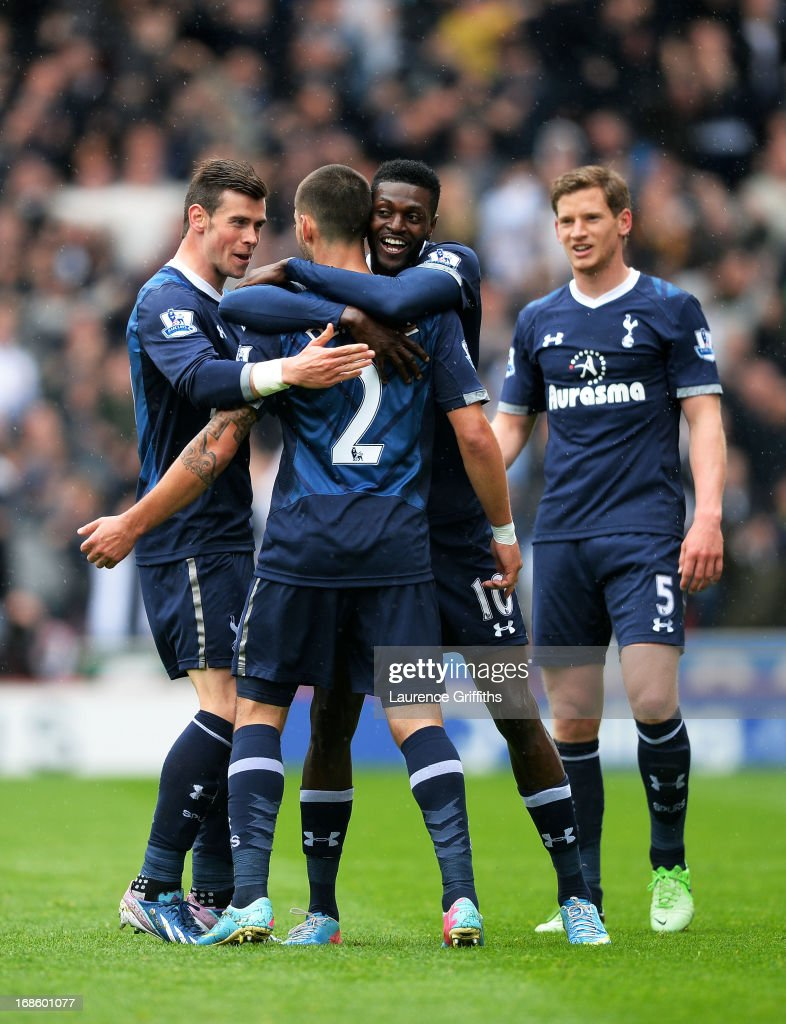 <a gi-track='captionPersonalityLinkClicked' href=/galleries/search?phrase=Clint+Dempsey&family=editorial&specificpeople=547866 ng-click='$event.stopPropagation()'>Clint Dempsey</a> #2 of Spurs is congratulated after scoring a goal to level the scores at 1-1 during the Barclays Premier League match between Stoke City and Tottenham Hotspur at Britannia Stadium on May 12, 2013 in Stoke on Trent, England.