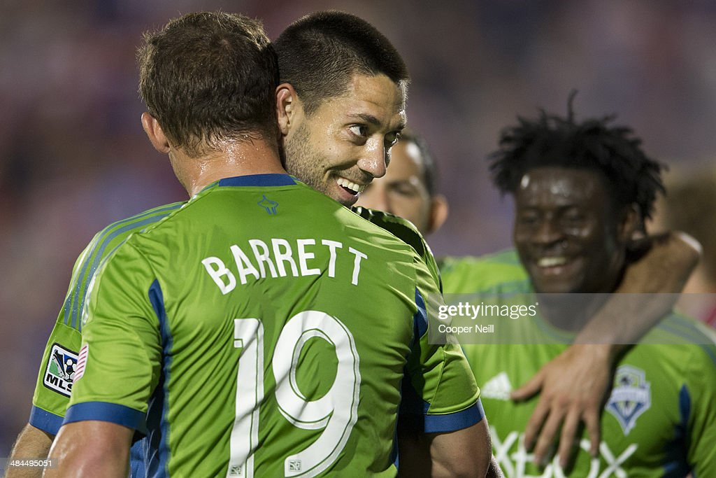 Clint Dempsey #2 of the Seattle Sounders FC celebrates after scoring a goal against the FC Dallas on April 12, 2014 at Toyota Stadium in Frisco, Texas.