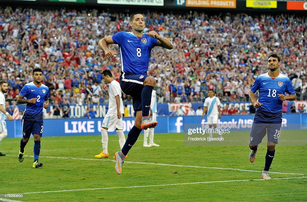 Clint Dempsey of the United States celebrates a goal against Guatemala during the second half of an international friendly soccer match between USA...