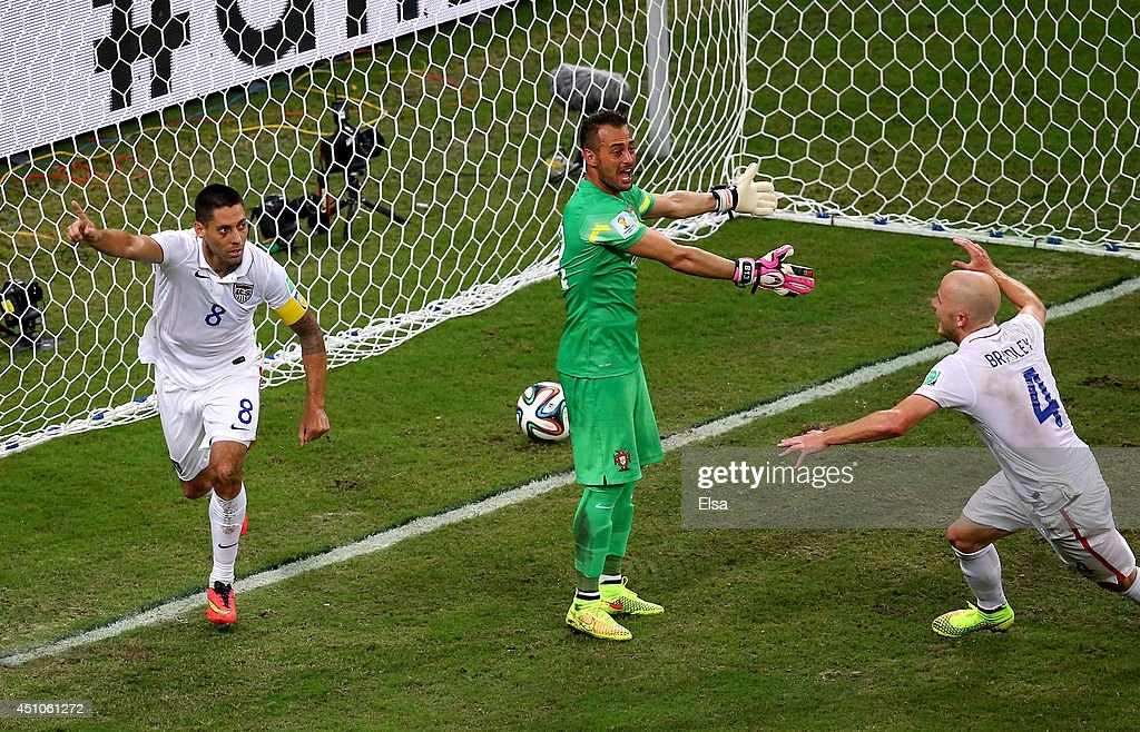 Clint Dempsey of the United States celebrates scoring his team's second goal past Beto of Portugal during the 2014 FIFA World Cup Brazil Group G match between the United States and Portugal at Arena Amazonia on June 22, 2014 in Manaus, Brazil.