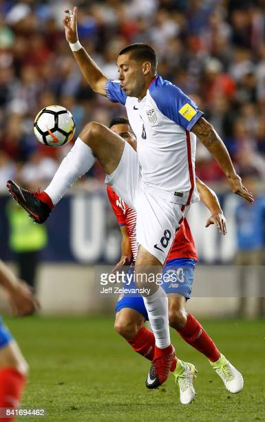 Clint Dempsey of the United States fights for the ball with David Guzman of Costa Rica during their match at Red Bull Arena on September 1 2017 in...