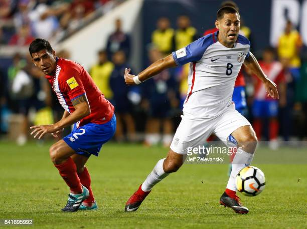 Clint Dempsey of the United States gets by Johnny Acosta of Costa Rica during their match at Red Bull Arena on September 1 2017 in Harrison New Jersey