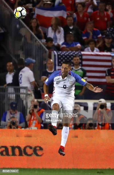 Clint Dempsey of the United States heads the ball against Costa Rica during the FIFA 2018 World Cup Qualifier at Red Bull Arena on September 1 2017...