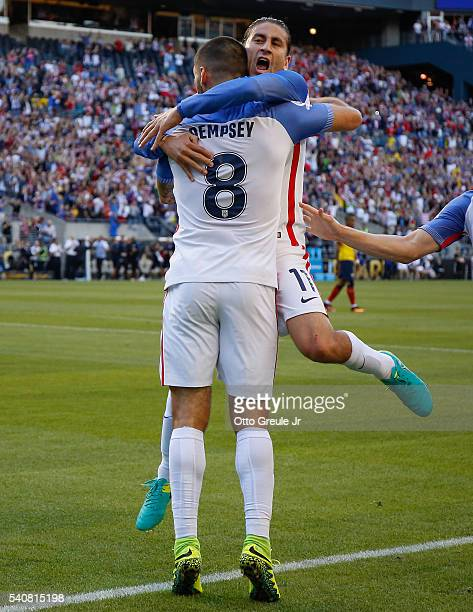 Clint Dempsey of the United States is congratulated by Alejandro Bedoya after scoring a goal against Ecuador during the 2016 Quarterfinal Copa...