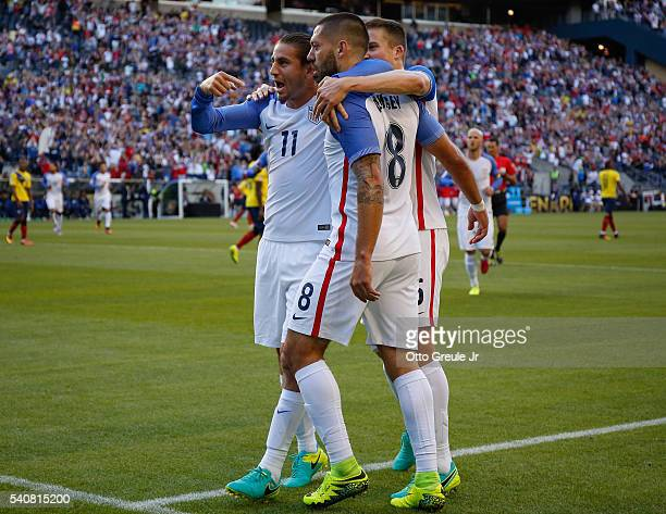 Clint Dempsey of the United States is congratulated by Alejandro Bedoya and Matt Besler after scoring a goal against Ecuador during the 2016...