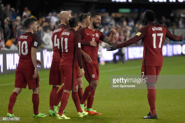 Clint Dempsey of the United States is congratulated by Alejandro Bedoya Christian Pulisic Michael Bradley and Jozy Altidore after scoring a goal on...