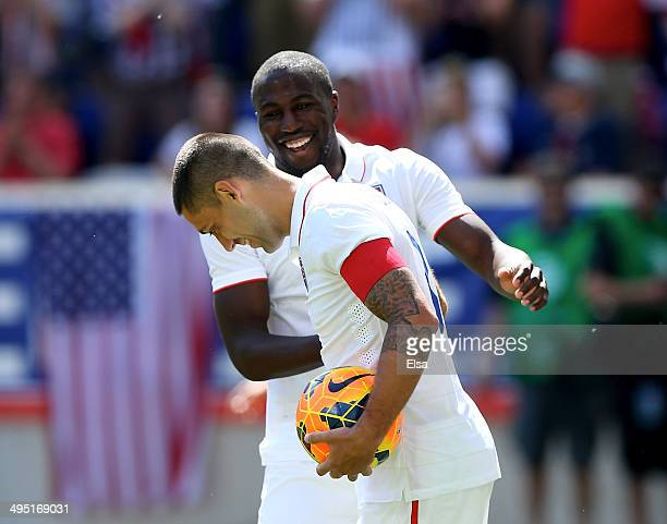 Clint Dempsey of the United States is congratulated by teammate Jozy Altidore after Dempsey scored in the second half against Turkey during an...