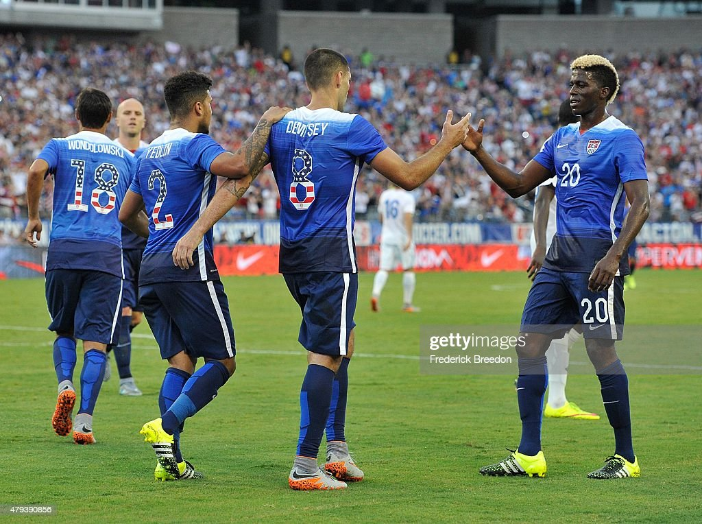 Clint Dempsey of the United States is congratulated by teammates DeAndre Yedlin and Gyasi Zardes after scoring a goal against Guatemala during the...