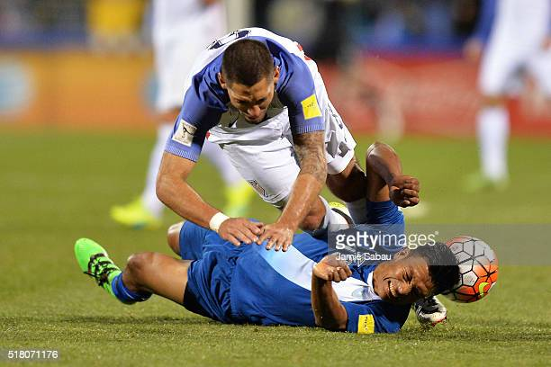 Clint Dempsey of the United States Men's National Team and Carlos Castrillo of Guatemala collide in the second half during the FIFA 2018 World Cup...