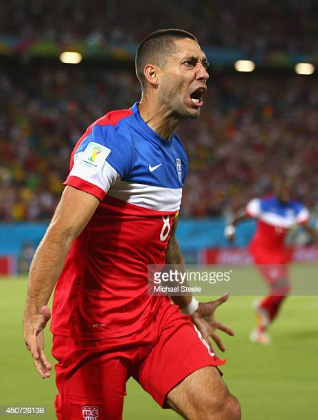 Clint Dempsey of the United States reacts after scoring his team's first goal during the 2014 FIFA World Cup Brazil Group G match between Ghana and...
