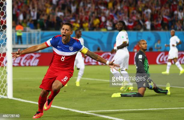 Clint Dempsey of the United States reacts after scoring his team's first goal past goalkeeper Adam Kwarasey of Ghana during the 2014 FIFA World Cup...
