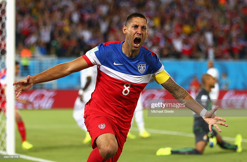 <a gi-track='captionPersonalityLinkClicked' href=/galleries/search?phrase=Clint+Dempsey&family=editorial&specificpeople=547866 ng-click='$event.stopPropagation()'>Clint Dempsey</a> of the United States reacts after scoring his team's first goal during the 2014 FIFA World Cup Brazil Group G match between Ghana and the United States at Estadio das Dunas on June 16, 2014 in Natal, Brazil.