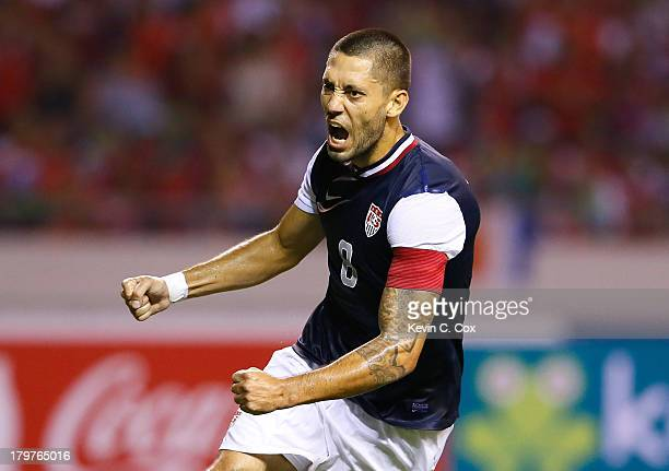 Clint Dempsey of the United States reacts after scoring off a penalty kick against Costa Rica during the FIFA 2014 World Cup Qualifier at Estadio...