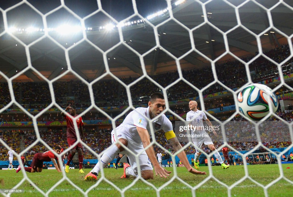 <a gi-track='captionPersonalityLinkClicked' href=/galleries/search?phrase=Clint+Dempsey&family=editorial&specificpeople=547866 ng-click='$event.stopPropagation()'>Clint Dempsey</a> of the United States scores his team's second goal during the 2014 FIFA World Cup Brazil Group G match between the United States and Portugal at Arena Amazonia on June 22, 2014 in Manaus, Brazil.