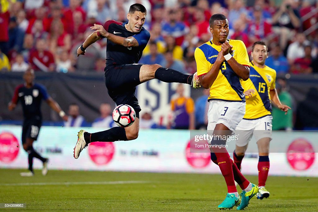 <a gi-track='captionPersonalityLinkClicked' href=/galleries/search?phrase=Clint+Dempsey&family=editorial&specificpeople=547866 ng-click='$event.stopPropagation()'>Clint Dempsey</a> #8 of the United States takes a shot against <a gi-track='captionPersonalityLinkClicked' href=/galleries/search?phrase=Frickson+Erazo&family=editorial&specificpeople=7817907 ng-click='$event.stopPropagation()'>Frickson Erazo</a> #3 of Ecuador in the second half during an International Friendly match at Toyota Stadium on May 25, 2016 in Frisco, Texas.