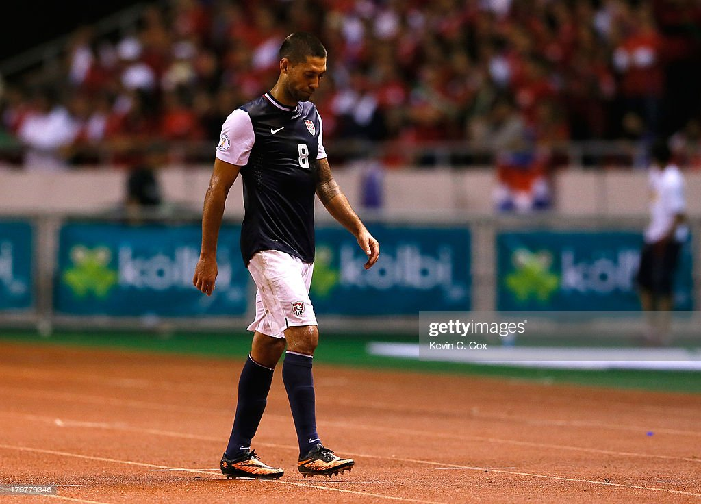 <a gi-track='captionPersonalityLinkClicked' href=/galleries/search?phrase=Clint+Dempsey&family=editorial&specificpeople=547866 ng-click='$event.stopPropagation()'>Clint Dempsey</a> #8 of the United States walks off the field in the final minutes of the match against Costa Rica during the FIFA 2014 World Cup Qualifier at Estadio Nacional on September 6, 2013 in San Jose, Costa Rica.