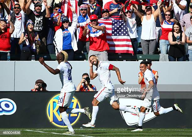 Clint Dempsey of the USA celebrates his goal in the first half against Panama during the international men's friendly match at StubHub Center on...