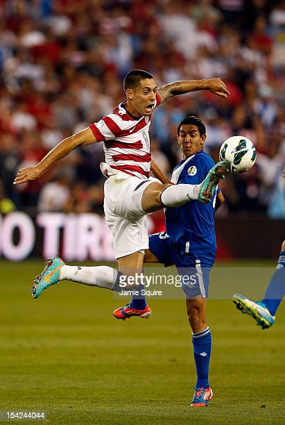 Clint Dempsey of the USA controls the ball as Elias Vasquez of Guatemala defends during the World Cup Qualifying match at LiveStrong Sporting Park on...