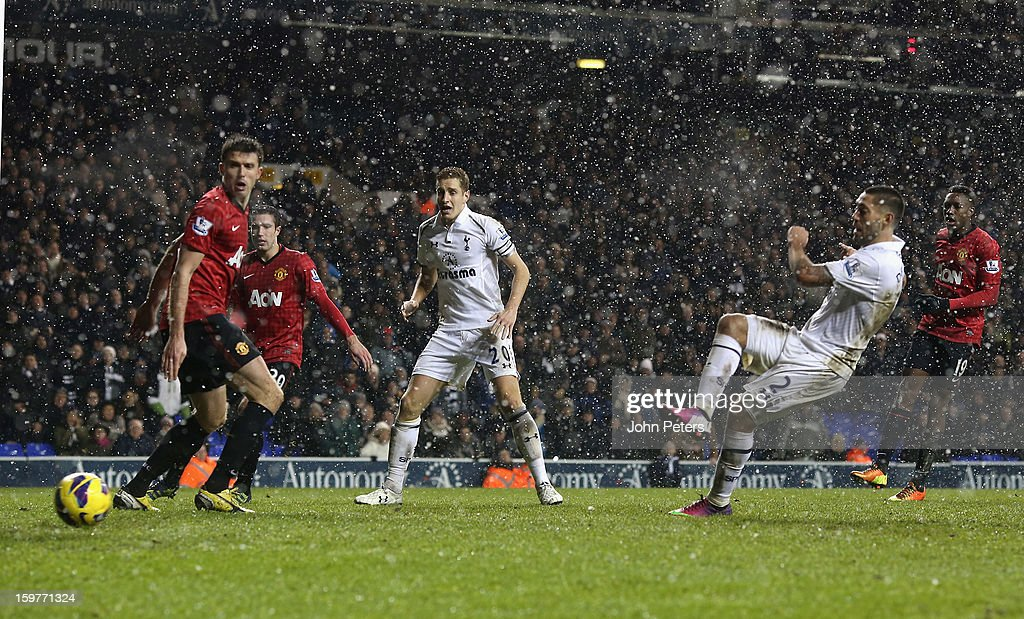 Clint Dempsey of Tottenham Hotspur scores their first goal during the Barclays Premier League match between Tottenham Hotspur and Manchester United at White Hart Lane on January 20, 2013 in London, England.