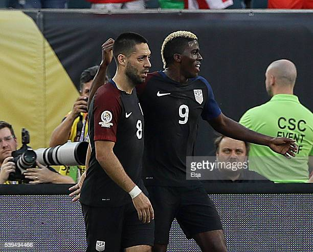 Clint Dempsey of United States celebrates his goal with teammate Gyasi Zerdes in the first half against the Paraguay during the Copa America...