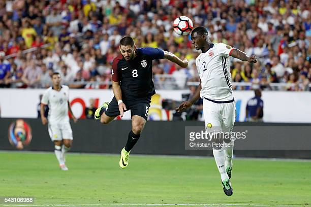 Clint Dempsey of United States heads the ball against Cristian Zapata of Colombia during the 2016 Copa America Centenario third place match at...