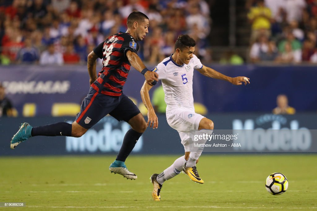 Clint Dempsey of United States of America and Ivan Mancia of El Salvador during the 2017 CONCACAF Gold Cup Quarter Final match between United States of America and El Salvador at Lincoln Financial Field on July 19, 2017 in Philadelphia, Pennsylvania.