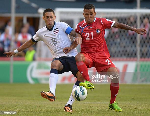 Clint Dempsey of US fights for the ball with Panama's Amilcar Henriquez during their Brazil 2014 FIFA World Cup qualifier at CenturyLink Field...