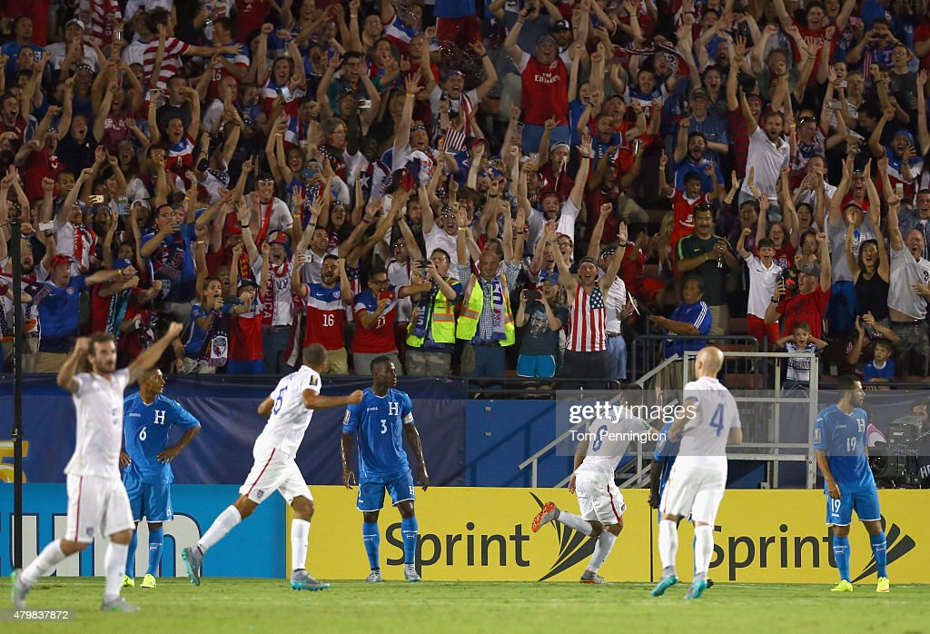 Clint Dempsey of USA celebrates after scoring against Honduras during the 2015 CONCACAF Gold Cup Group A match between USA and Honduras at Toyota...