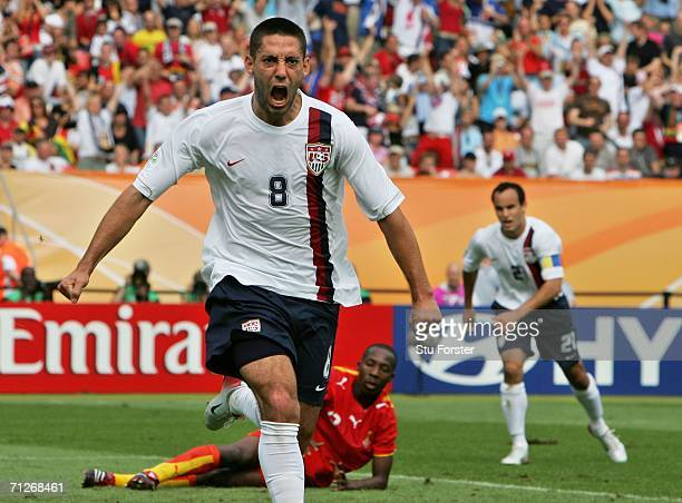 Clint Dempsey of USA celebrates his goal during the FIFA World Cup Germany 2006 match between Ghana and USA played at the Stadium Nuernberg on June...