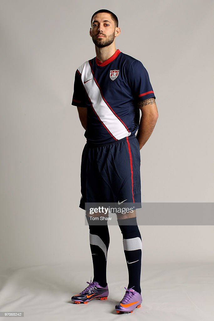 <a gi-track='captionPersonalityLinkClicked' href=/galleries/search?phrase=Clint+Dempsey&family=editorial&specificpeople=547866 ng-click='$event.stopPropagation()'>Clint Dempsey</a> of USA poses during the Nike unveils the new Brazil home and away kit, plus 8 away kits for the other Nike-Sponsored federations appearing at the 2010 World Cup in South Africa at Battersea Power Station on February 25, 2010 in London, England.