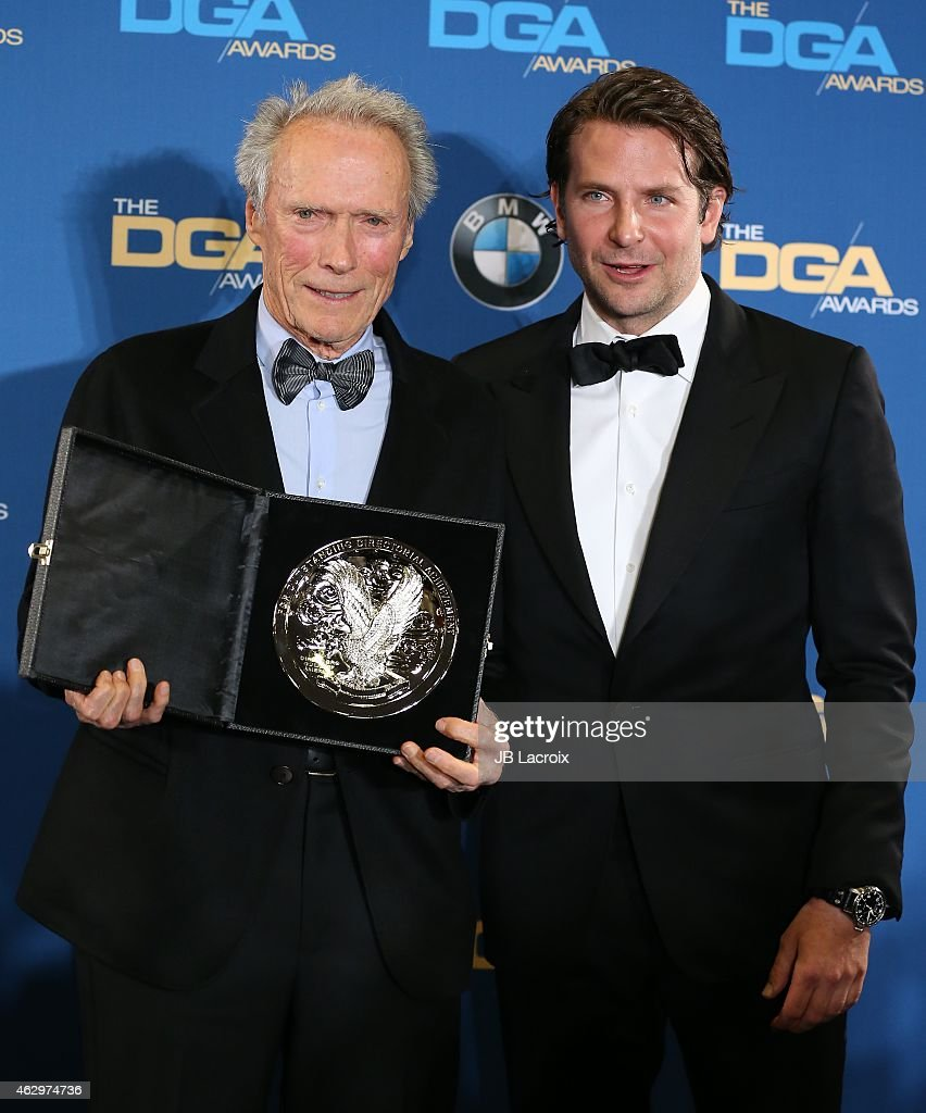 Clint Eastwood and Bradley Cooper pose in the press room at the 67th Annual Directors Guild Of America Awards at the Hyatt Regency Century Plaza on February 7, 2015 in Century City, California.