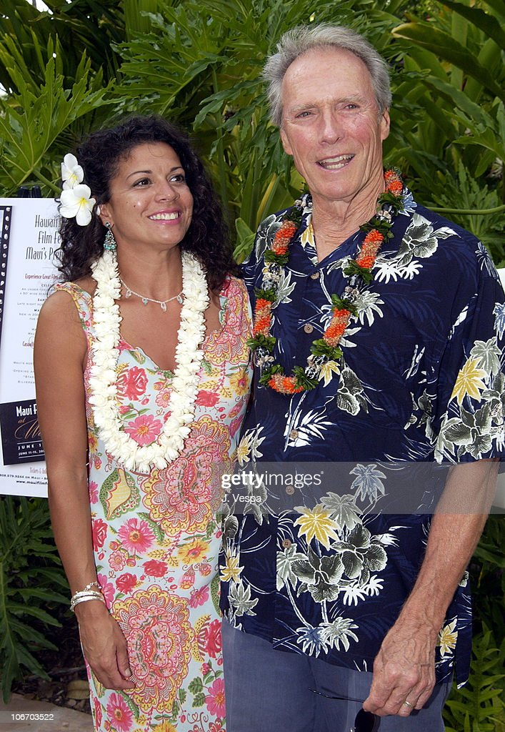 Clint Eastwood and wife Dina Eastwood during 2002 Maui Film Festival - Clint Eastwood Honored with Piper Heidsieck Silversword Award at Grand Wailea Resort Hotel and Spa in Maui, Hawaii, United States.