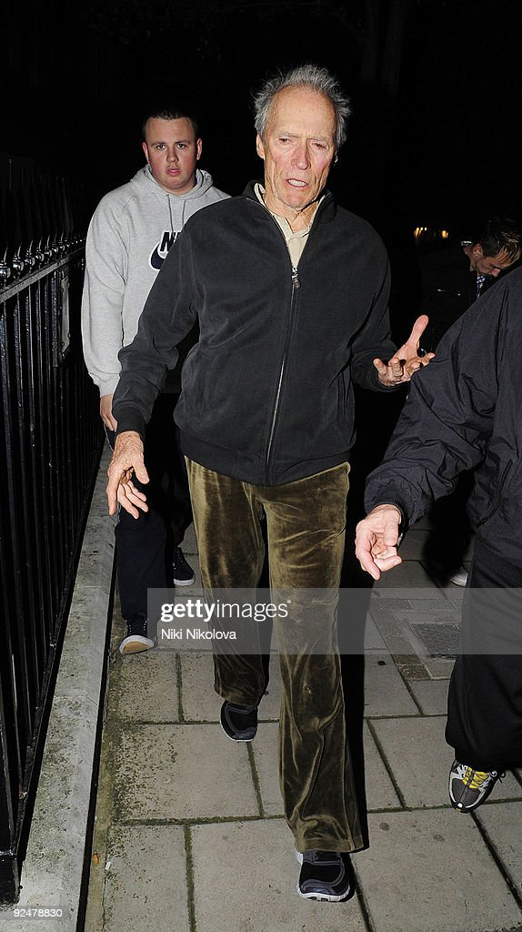 Clint Eastwood arriving at his Hotel on October 28, 2009 in London, England.