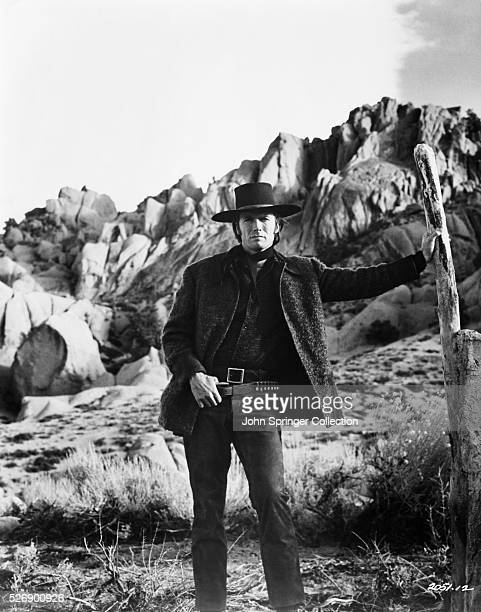 Clint Eastwood dresses in cowboy attire for the part of former bounty hunter Joe Kidd in the 1972 fim Joe Kidd