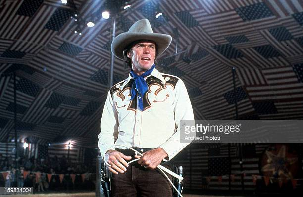 Clint Eastwood in full cowboy attire in a scene from the film 'Bronco Billy' 1980
