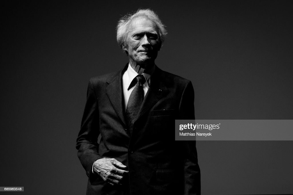 Clint Eastwood is seen on stage during the 'Unforgiven' restored copy presentation during the 70th annual Cannes Film Festival at Salle Debussy on May 20, 2017 in Cannes, France.