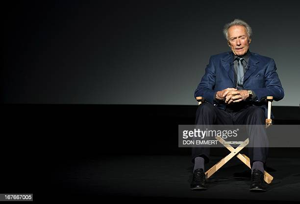 Clint Eastwood talks to the audience at the Tribeca Film Festival April 27 2013 in New York Eastwood was on hand to talk about the documentary movie...