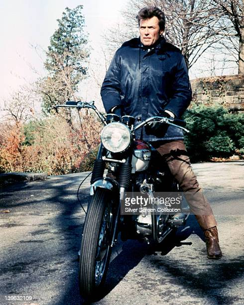 Clint Eastwood US actor sitting astride a motorcycle in a publicity portrait issued for the film 'Coogan's Bluff' USA 1968 The 1968 thriller directed...