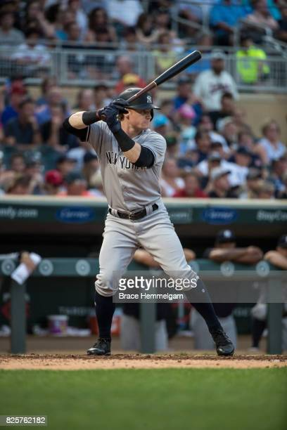 Clint Frazier of the New York Yankees bats against the Minnesota Twins on July 17 2017 at Target Field in Minneapolis Minnesota The Twins defeated...