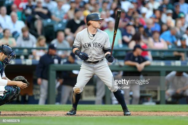 Clint Frazier of the New York Yankees bats during the game against the Seattle Mariners at Safeco Field on July 22 2017 in Seattle Washington The...