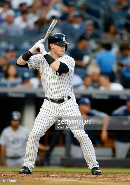 Clint Frazier of the New York Yankees bats in an MLB baseball game against the Tampa Bay Rays on July 27 2017 at Yankee Stadium in the Bronx borough...