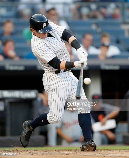 Clint Frazier of the New York Yankees bats in an MLB baseball game against the Detroit Tigers on August 1 2017 at Yankee Stadium in the Bronx borough...