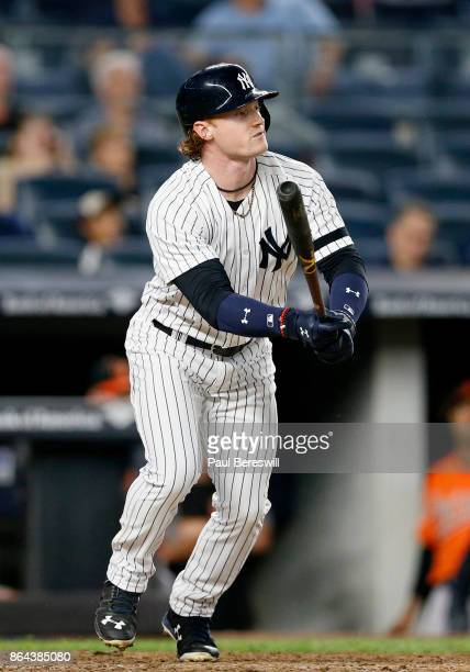 Clint Frazier of the New York Yankees bats in an MLB baseball game against the Baltimore Orioles on September 16 2017 at Yankee Stadium in the Bronx...