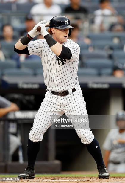 Clint Frazier of the New York Yankees bats in the first inning of an MLB baseball game against the Tampa Bay Rays on July 28 2017 at Yankee Stadium...