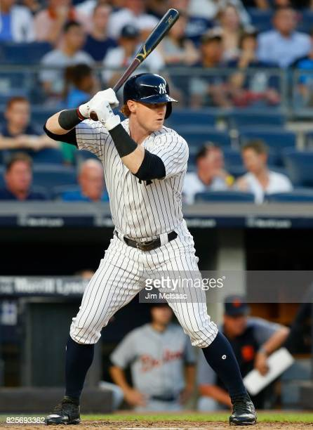 Clint Frazier of the New York Yankees in action against the Detroit Tigers at Yankee Stadium on August 1 2017 in the Bronx borough of New York City...