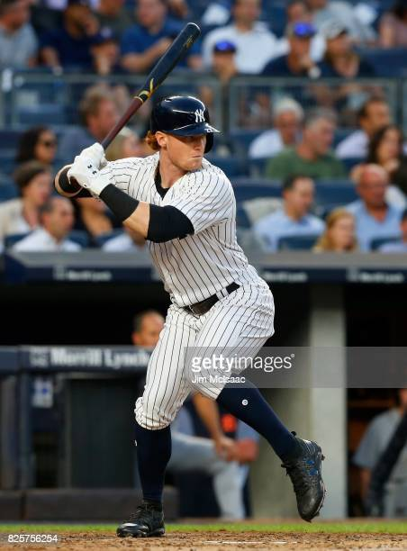 Clint Frazier of the New York Yankees in action against the Detroit Tigers at Yankee Stadium on July 31 2017 in the Bronx borough of New York City...
